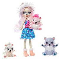 Кукла со зверюшками Enchantimals Пристина Полярная Миша с семьей GJX47