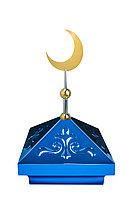 Навершие. Купол на мазар. Синий с орнаментом и золотым плоским полумесяцем d-230. На колонну 39,5 х 39,5 см.