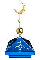 Навершие. Купол на мазар. Синий с орнаментом и золотым объемным полумесяцем d-230 с 2-мя шарами