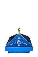 Навершие. Купол на мазар. Синий с орнаментом и золотым декоративным пером. На колонну 39,5 х 39,5 см.