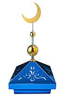 Навершие. Купол на мазар. Синий с орнаментом и золотым плоским полумесяцем d-230 с 2-мя шарами