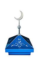 Навершие. Купол на мазар. Синий с орнаментом и объемным полумесяцем d-180 серебро. На колонну 39,5 х 39,5 см.