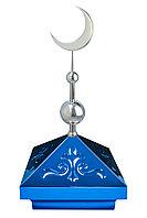Навершие. Купол на мазар. Синий с орнаментом и объемным полумесяцем d-230 серебро с 2-мя шарами