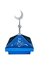 Навершие. Купол на мазар. Синий с орнаментом и плоским полумесяцем d-180 серебро. На колонну 39,5 х 39,5 см.