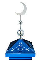 Навершие. Купол на мазар. Синий с орнаментом и плоским полумесяцем d-230 серебро с 2-мя шарами