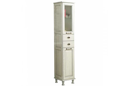 Шкаф - колонна, ЖЕРОНА, левый белое серебро 1A158903GEM2L