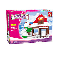 Игровой конструктор Ausini 24401 Мир Чудес Зимний домик 130 деталей Цветная коробка