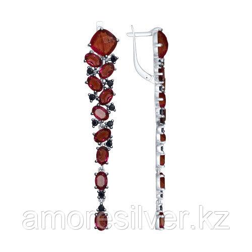 Серьги SOKOLOV серебро с родием, кристалл swarovski  фианит , многокаменка 94023042