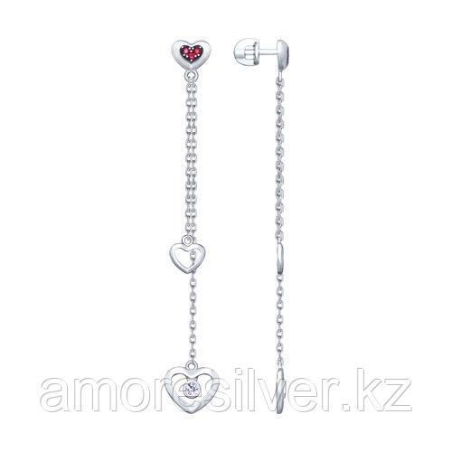 Серьги SOKOLOV серебро с родием, фианит  корунд синт., символы 94023096
