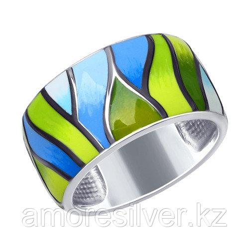 Кольцо SOKOLOV серебро с родием, эмаль, абстракция 94012545 размеры - 17,5