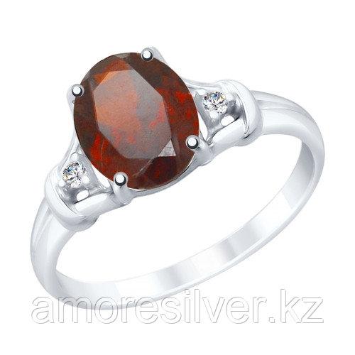 """Кольцо SOKOLOV серебро с родием, гранат фианит , """"каратник"""" 92011784 размеры - 16,5 18"""
