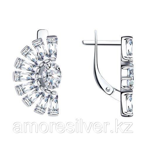 Серьги SOKOLOV серебро с родием, фианит , круг 94023711
