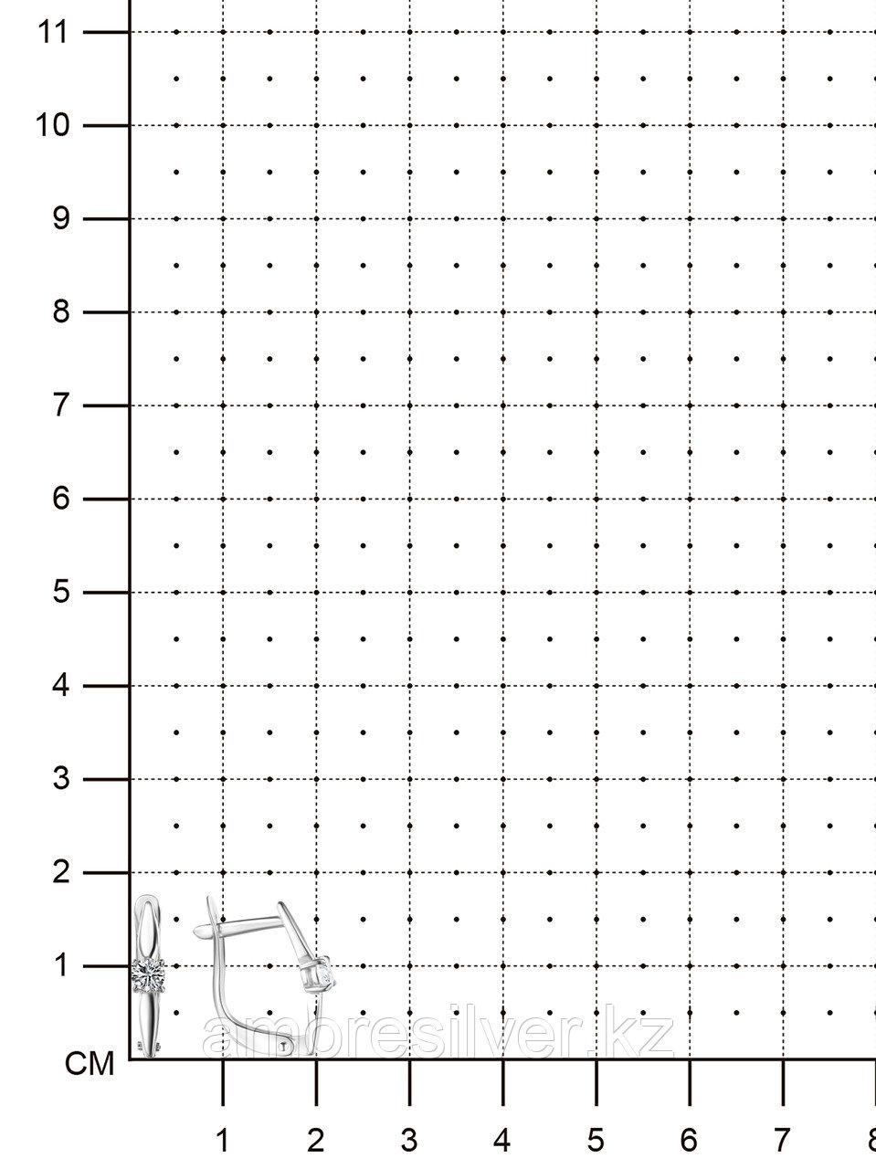 "Серьги TEOSA серебро с родием, фианит, ""каратник"" 10219-0607-CZ - фото 2"