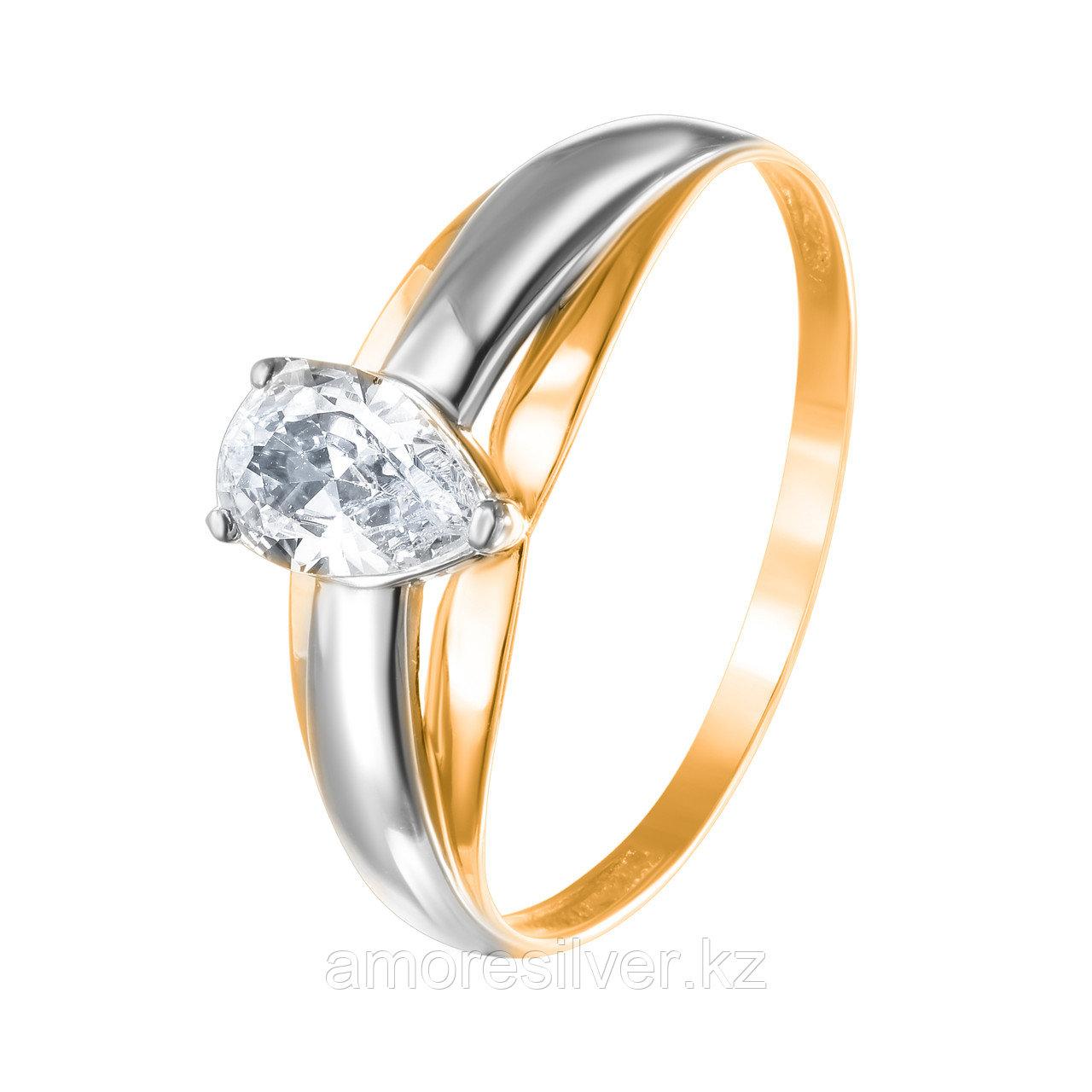 """Кольцо TEOSA серебро с позолотой, фианит, """"каратник"""" 20119-0625-CZ размеры - 18,5"""