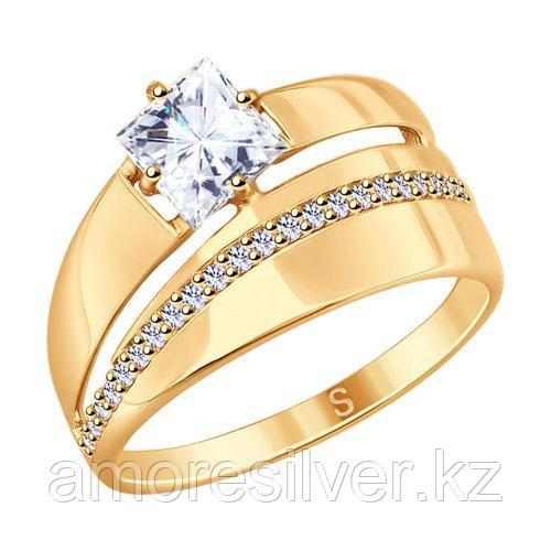 Кольцо SOKOLOV серебро с позолотой, фианит  93010782 размеры - 17,5 18,5 19 19,5 20 20,5 21 21,5