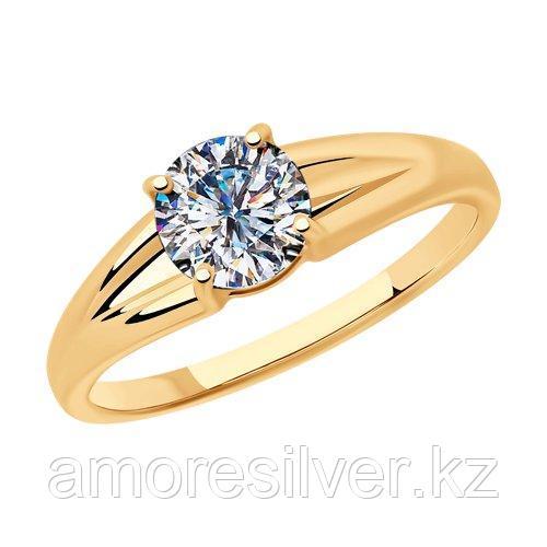 Кольцо SOKOLOV серебро с позолотой, фианит  93010799 размеры - 17 17,5 18 18,5