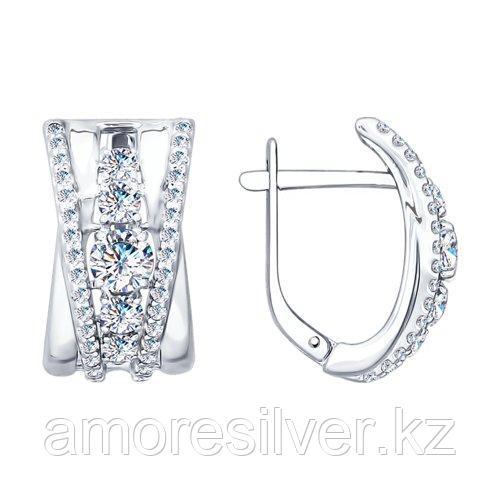 Серьги SOKOLOV серебро с родием, фианит  94022152