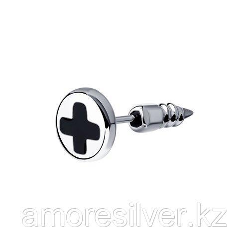 Серьги SOKOLOV серебро с родием, эмаль, модное 94170138