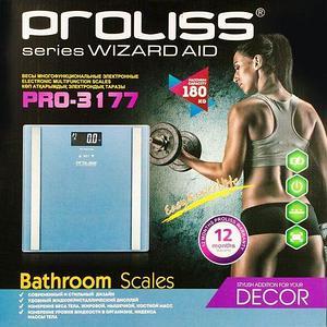 """Весы-анализаторы """"умные"""" напольные PROLISS Wizard Aid с расчетом показателей состава тела (Голубой алюминий)"""