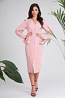 Женское осеннее хлопковое розовое платье SandyNa 13939 розовый 54р.