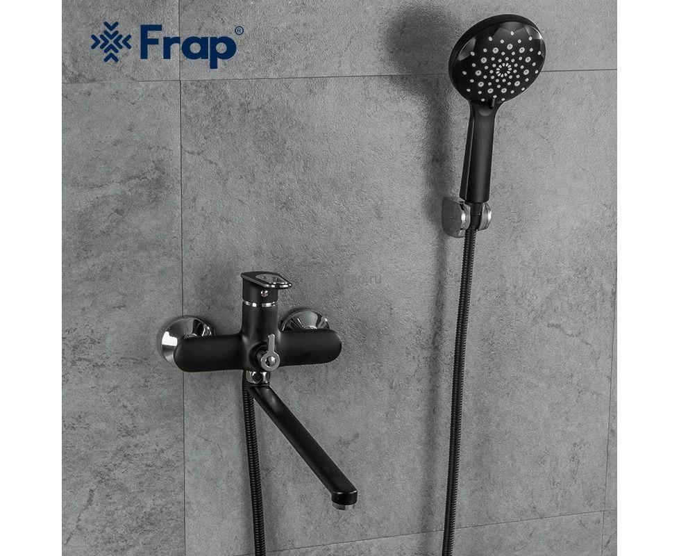 Смеситель для ванны Frap F2249-6  черный(длинный)