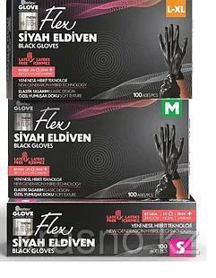 Перчатки М 100шт черные гибридные Flex