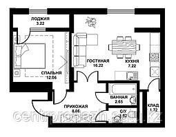 2 комнатная квартира жк Табысты 52,97м2