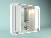 Шкаф навесной, Water World 2 двери + зеркало,1000, 100*70*17.5 (Рубин, Белый снег, Белый глянец)(460375000000)