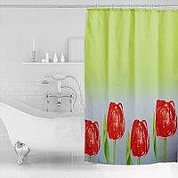 Водонепроницаемая шторка для ванной тканевая Miranda 180x200 см тюльпаны
