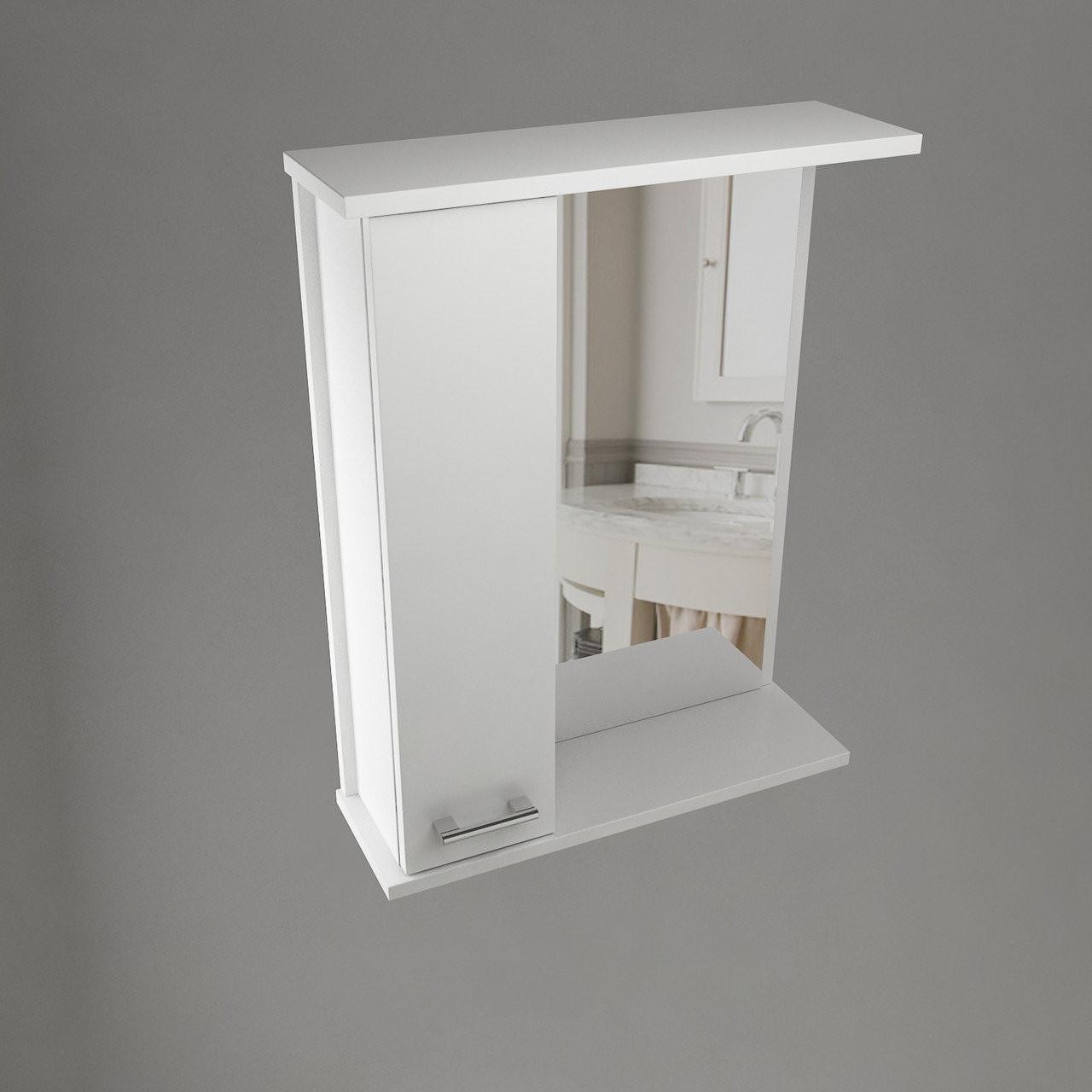 Шкаф навесной Water World, 1 дверь + зеркало, 500,50*70*17 (Стиль, Белый снег, Молочный глянец)(4603750000000)