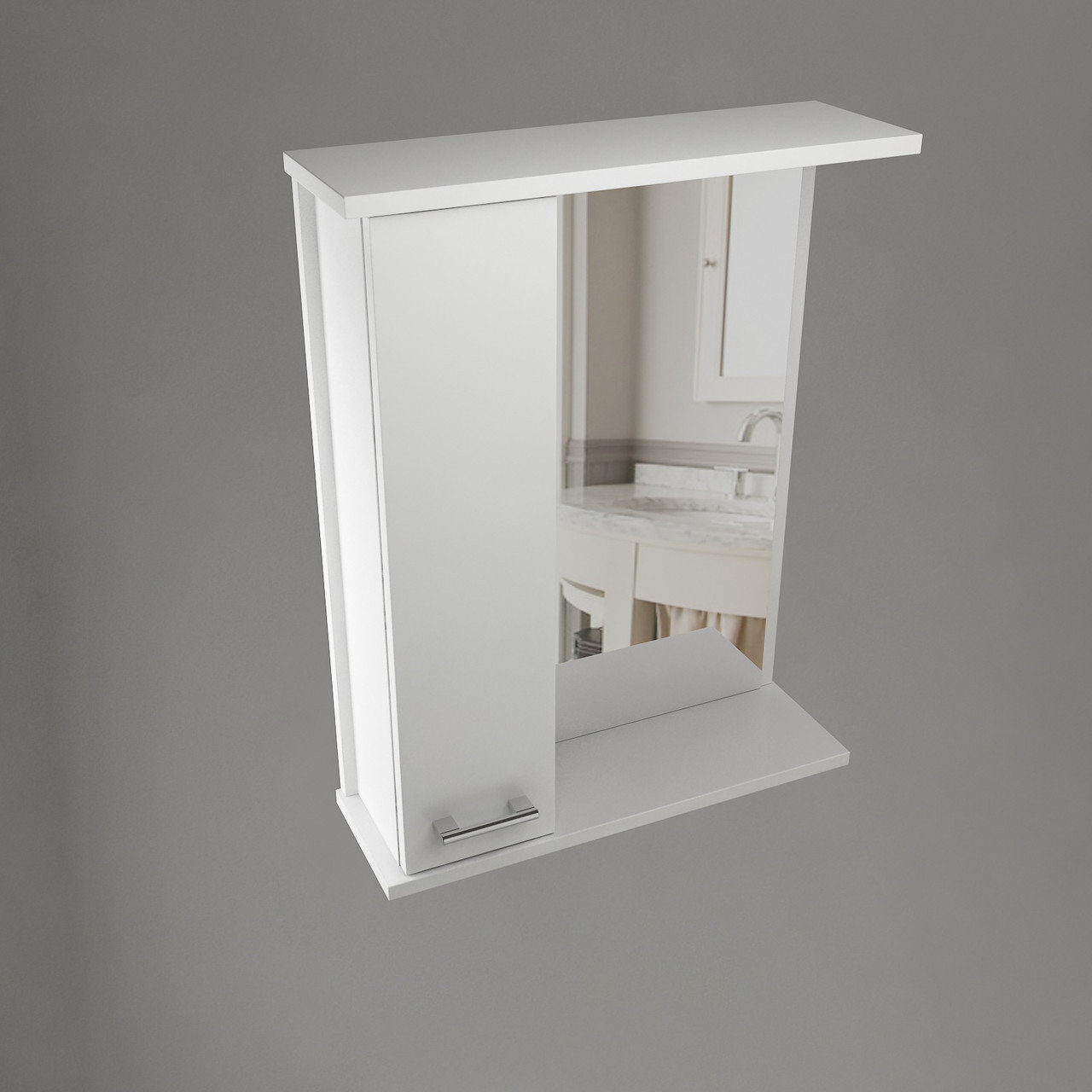 Шкаф навесной Water World, 1 дверь + зеркало, 700,70*70*17 (Стиль, Белый снег, Молочный глянец)(4603750000000)