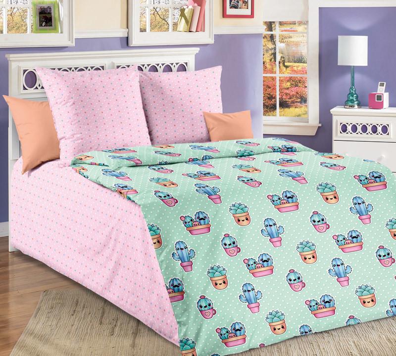 ТексДизайн Комплект постельного белья  Кактусы, 1.5 спальный , бязь