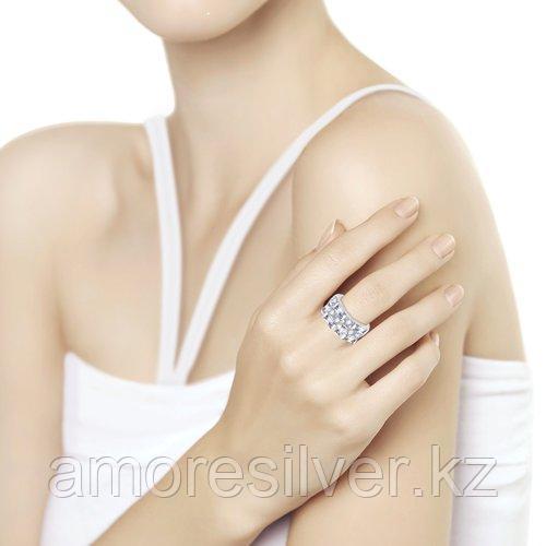 Кольцо SOKOLOV серебро с родием, фианит , дорожка 94012456 размеры - 17,5 18,5 - фото 2