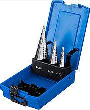 Набор ступенчатых сверл, сталь Р6М5, ЗУБР 3 шт., 4-30мм