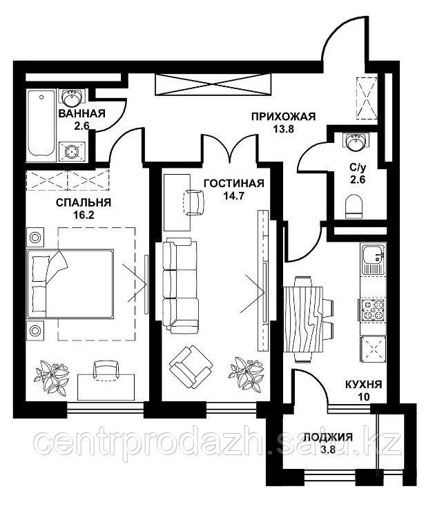 2 комнатная квартира ЖК Табысты 63,70м2
