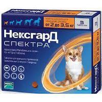 Нексгард Спектра от 2 до 3,5кг таблетки от блох, клещей и гельминтов для собак 1 таблетка