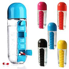 Бутылка-органайзер для таблеток и витаминов Фитнес на совесть!, фото 2