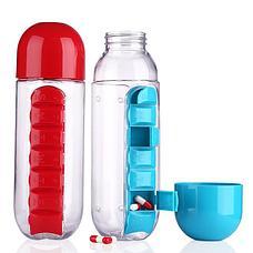 Бутылка-органайзер для таблеток и витаминов Фитнес на совесть!, фото 3