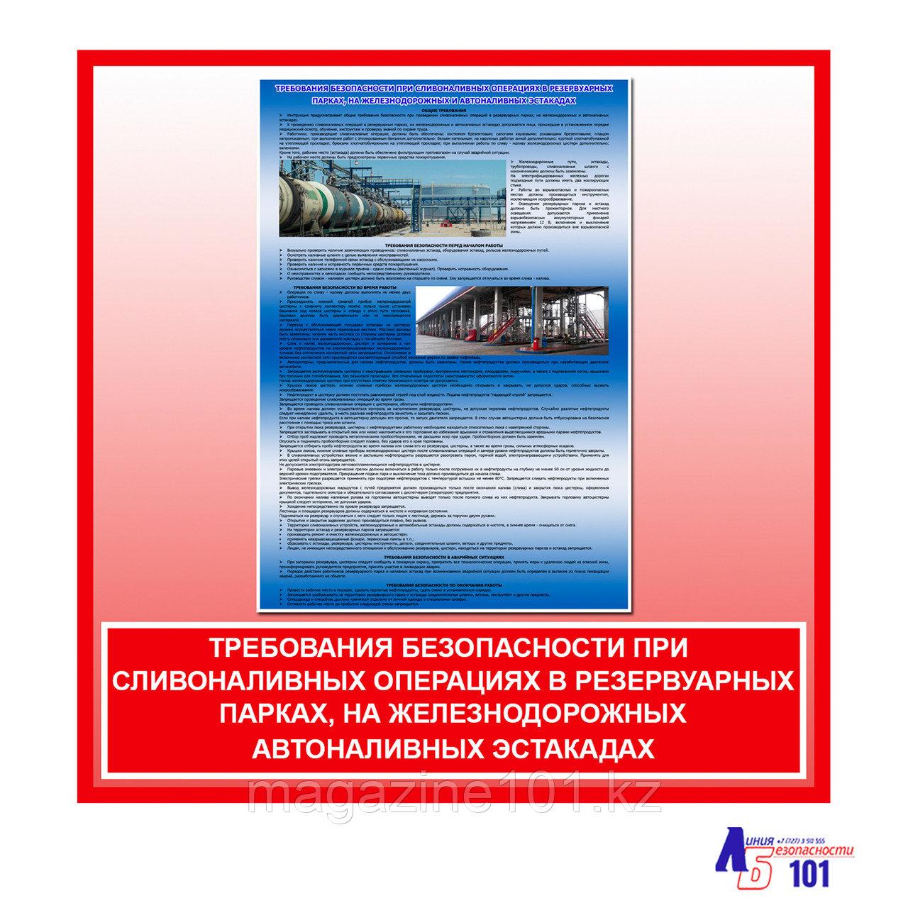 """Плакат """"Требования безопасности при сливоналивных операциях в резервуарных парках, на железнодорожных ..."""""""