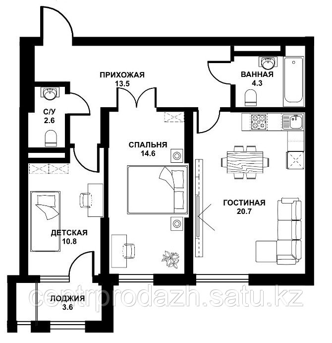 2 комнатная квартира ЖК Табысты 70,10м2