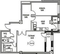 2 комнатная квартира ЖК Табысты 74,74м2