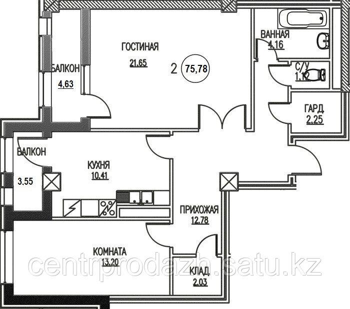 2 комнатная квартира ЖК Табысты 75,78м2