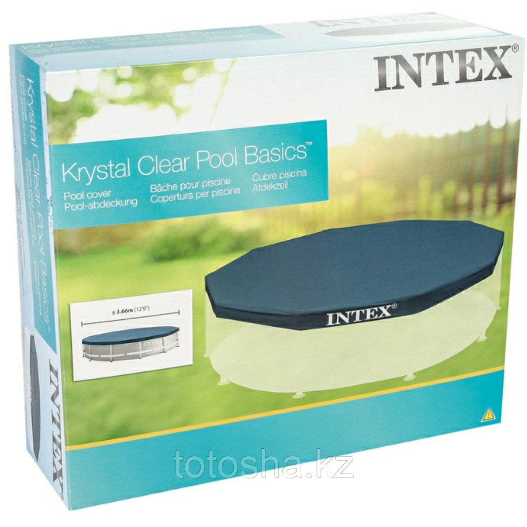 28031 Intex Крышка для каркасного бассейна 366 см + бируши в подарок