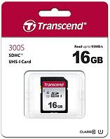Карта памяти SD 16GB Class 10 U1 Transcend TS16GSDC300S