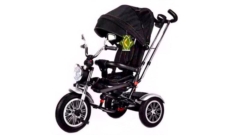 Велоколяска с фарой черная