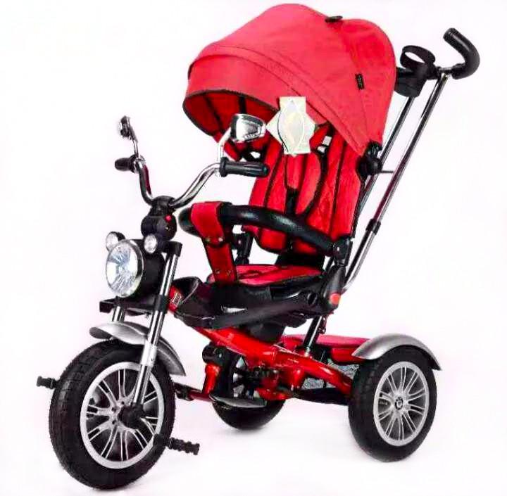 Велоколяска с фарой красная
