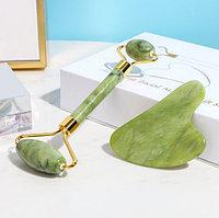 Роллер-массажер для лица двусторонний + скребок гуаша из натурального зеленого нефрита