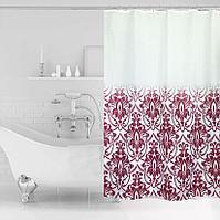 Водонепроницаемая шторка для ванной тканевая Miranda 180x200 см бордовые узоры