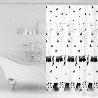 Водонепроницаемая шторка для ванной тканевая Miranda 180x200 см с узором постиранного белья