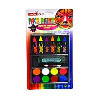 Аквагрим карандаши палетка и блестки Face Painting (6 карандашей, 8 кремовых пигментов 1 упаковка блесток)
